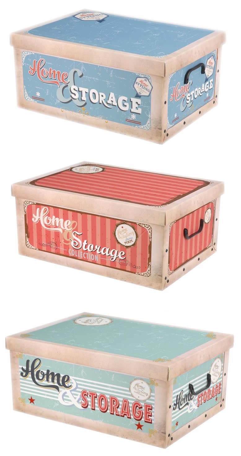 retro usa aufbewahrungs allzweckkiste box deckel kiste karton schachtel pappe ebay. Black Bedroom Furniture Sets. Home Design Ideas