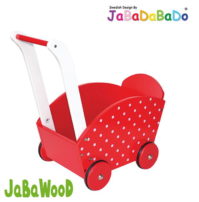 Lauflernwagen Holz Kippsicher Mit Bremse ~ JaBaDaBaDo Holz Puppenwagen Lauflernwagen Holzpuppenwagen Bremse Rot