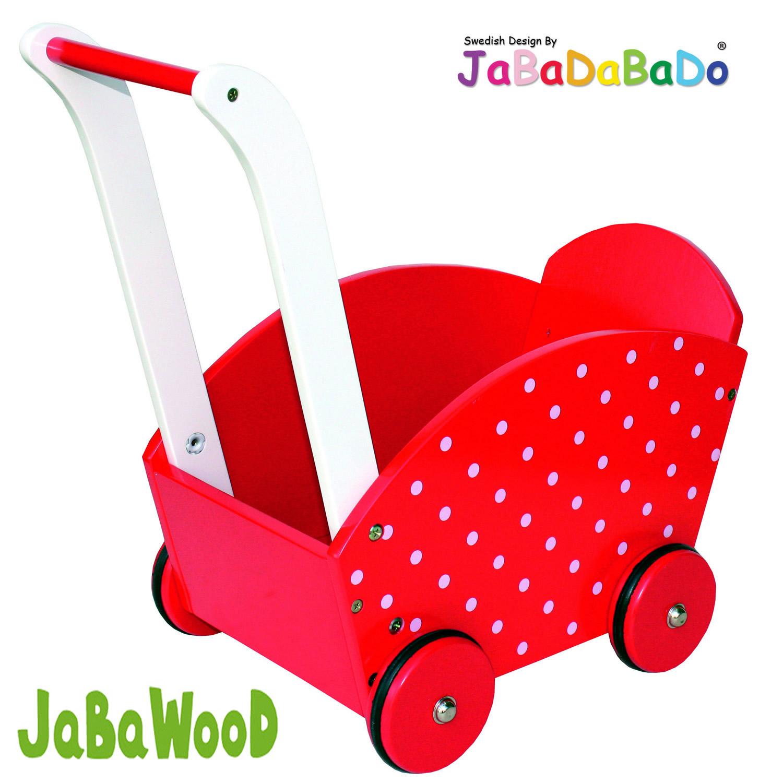 Lauflernwagen Holz Puppenwagen ~ JaBaDaBaDo Holz Puppenwagen Lauflernwagen Holzpuppenwagen Bremse Rot
