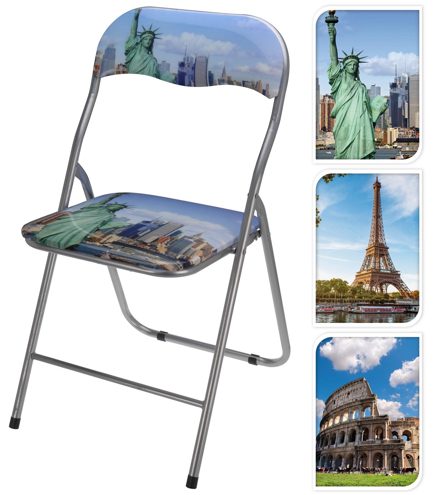 design klappstuhl besucherstuhl faltstuhl beistellstuhl regiestuhl metall motiv ebay. Black Bedroom Furniture Sets. Home Design Ideas