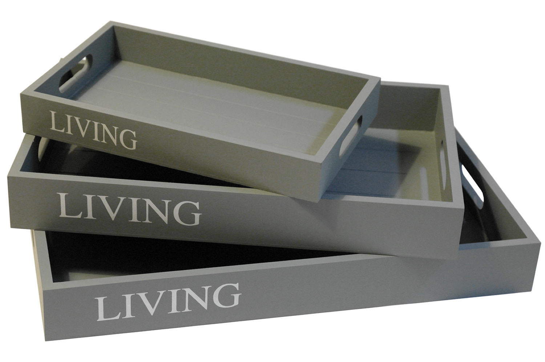 3 set tablett serviertablett holztablett kerzentablett. Black Bedroom Furniture Sets. Home Design Ideas