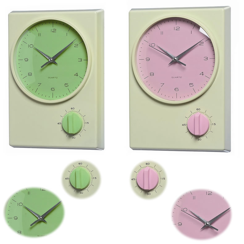 nostalgische wanduhr k chenuhr b rouhr timer antik retro quartzuhr gr n lime ebay. Black Bedroom Furniture Sets. Home Design Ideas