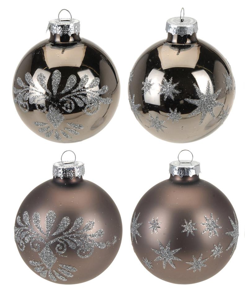 4 glas weihnachtskugeln christbaumschmuck christbaumkugeln braun ros frosted ebay. Black Bedroom Furniture Sets. Home Design Ideas