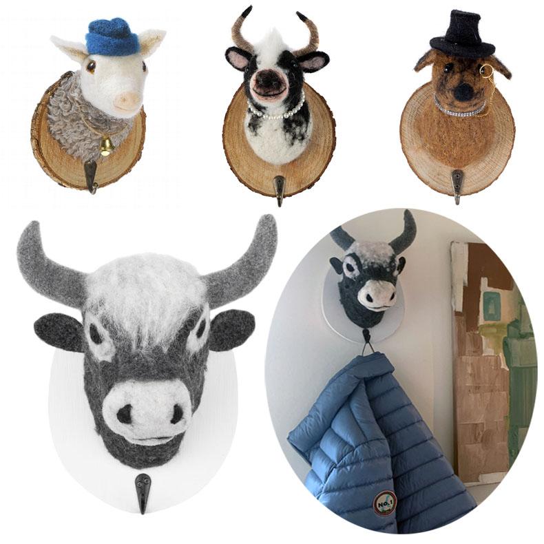Hund Kleiderhaken Garderobe Wandhaken Schlüsselhaken aus  Filz+Holz
