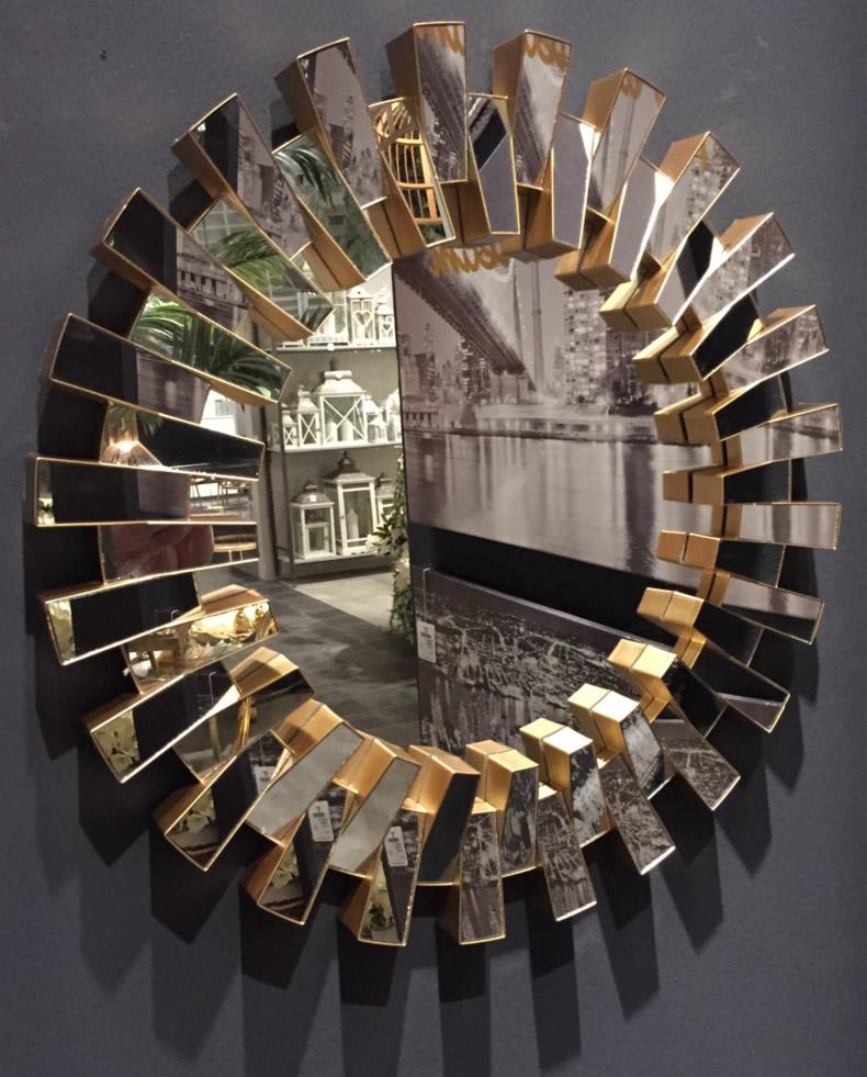 Badezimmerspiegel Retro: XL Retro Wandspiegel Gold Ø 50cm Bad-Spiegel Dekoration