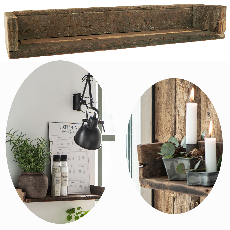 Vintage Wandregal 60cm Ziegelform Holz Regal Kuchenregal Wandboard