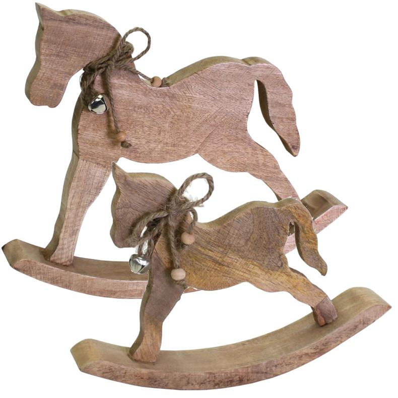 Nostalgie Schaukelpferd Pferd Deko Figur Creme Vintage: Holz Deko-Figur Schaukelpferd Braun 32cm / 23cm Vintage