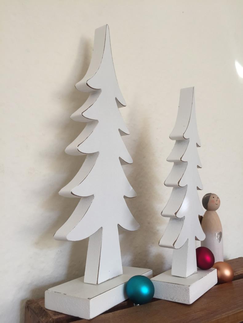 2x xl design deko holz weihnachtsbaum tannenbaum set wei. Black Bedroom Furniture Sets. Home Design Ideas