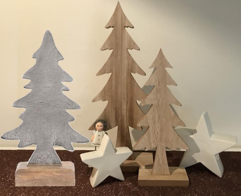 xl eisen weihnachtsbaum tannenbaum 33cm silber sockel holz. Black Bedroom Furniture Sets. Home Design Ideas